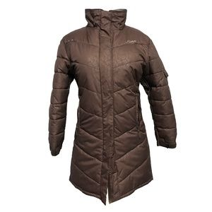 Women's Karbon Brown Paisley Long Ski Jacket